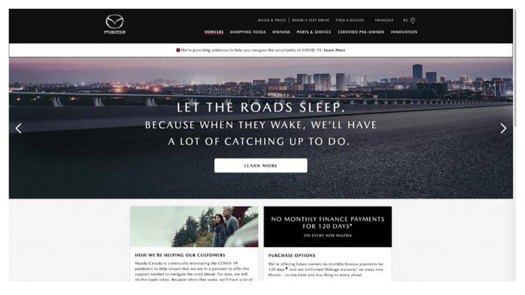 Screenshot of the Mazda landing page from 2020