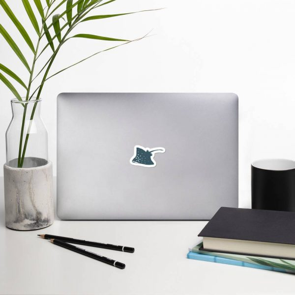 A mockup of the sticker pasted onto a laptop.