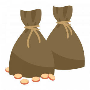 Illustration of two tied up sacks of gold coins with six gold coins lying around them — coins that could have been used on a web design that generates positive return on investment