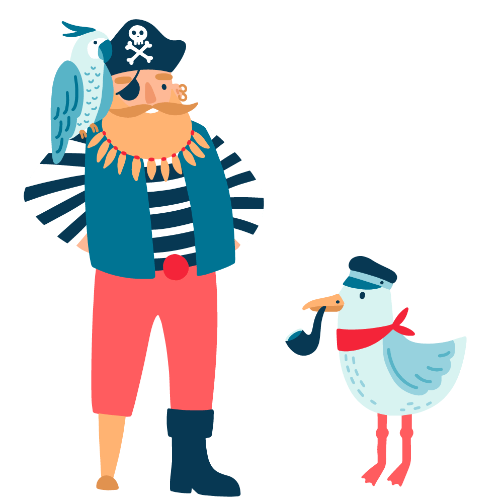 An illustration of a confident bearded pirate ship captain with a peg leg and a parrot on his shoulder standing next to a seagull wearing a sailor's hat and smoking a tobacco pipe