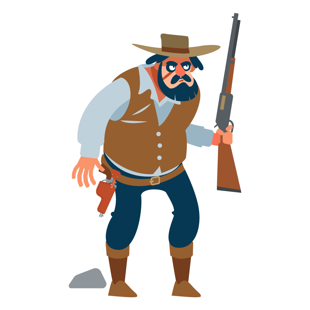 Illustration of an old-west menacing looking bearded man holding a shotgun with his finger on the trigger — this cowboy coder doesn't care about your web design, he just wanted to have fun