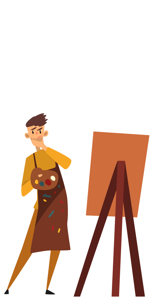 An illustration of an artist holding a palette, deep in concentration as he looks at an easel