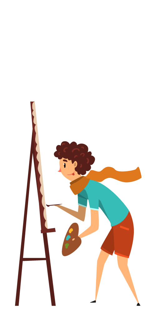 An illustration of an artist holding a palette, deep in concentration as she looks at an easel