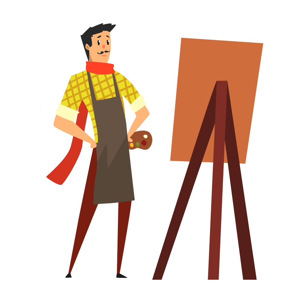 An illustration of a satisfied artist stares at his easel, satisfied with his creation