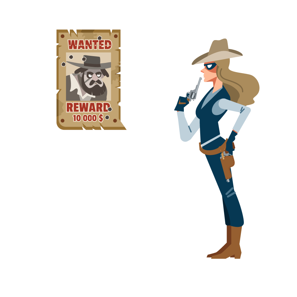 """An illustration of a confident female sheriff blowing smoke off her gun as she looks at a """"wanted"""" poster of a menacing looking man — the cowboy coder. She'll make things right by building a website with writing that converts, code that doesn't break, and software and web designs that look amazing"""