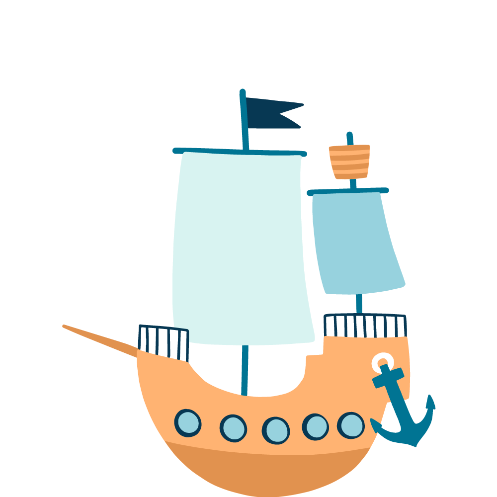An illustration of a large wooden sailing ship