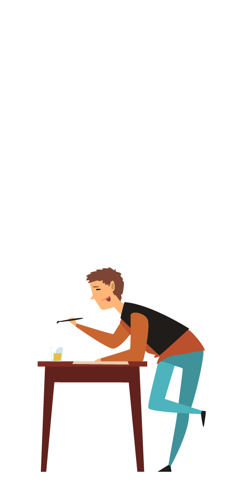 An illustration of an artist standing at a desk as he concentrates on a painting
