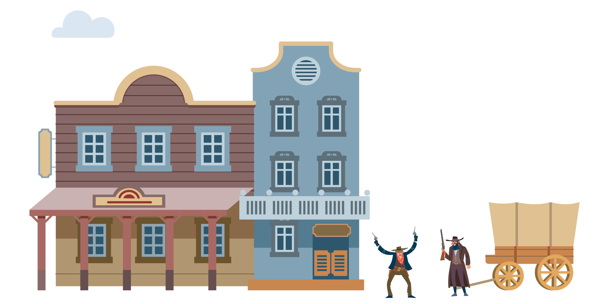 An illustration of an old-west town with two bandits making a scene in front of a wagon — they took your money and left you in the dust. There's a better place to get your web design: Objektiv Digital.