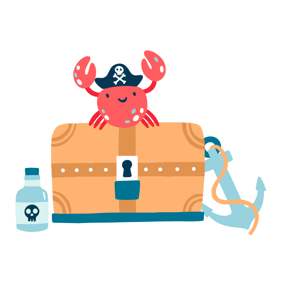 A cute happy looking crab standing on a treasure chest